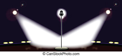 Wide Stage - A microphone spot lit by two spotlights on a...