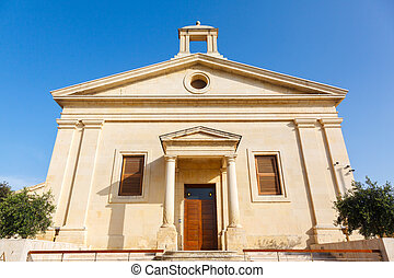 The Garrison Church in Upper Barrakka Gardens in Valletta,...