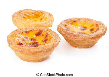 portuguese egg tart - delicious portuguese egg tart isolated...
