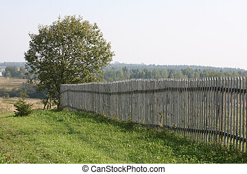 Palisade - Long rural wooden fence