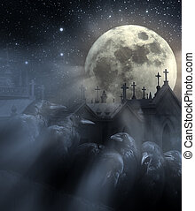 Night of the crows - Halloween night with flock of crows,...