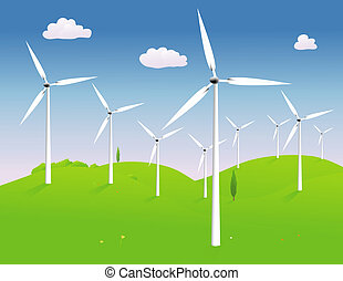 Windmills - Modern power generating windmills in a hilly...