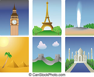 world destinations - illustration of various world...