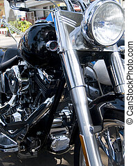 Front of motorcycle - Front and headlight of black and...