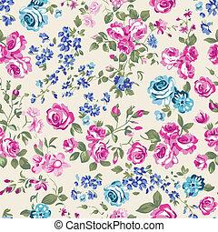 classic cream roses - seamless vector background