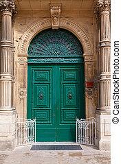 wooden front door to the house - green wooden front door to...