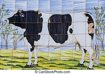 Talavera pottery, tiles, painting of a bull
