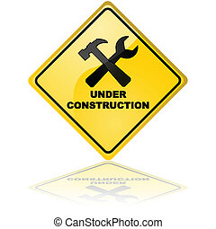 Under construction sign - Glossy illustration of an Under...