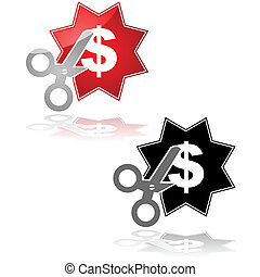Price cut - Concept illustration showing a pair of scissors...