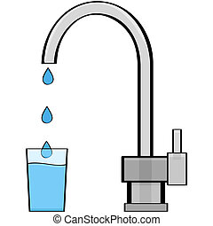 Tap water - Cartoon illustration showing water coming out of...