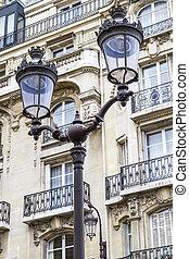 Metallic retro lamppost in Paris, France
