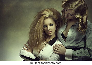 couple fashion blonde girls in false color