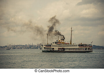 Ferry at the Bosphorus of Kad?koy, Istanbul - Ferry is...
