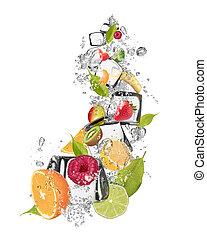Ice fruit on white background - Ice fruit isolated on white...