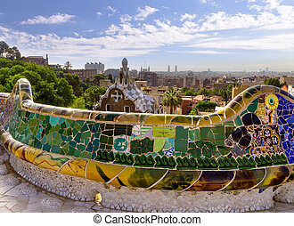 Park Guell in Barcelona, Spain. - design mosaic Park Guell...