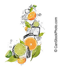 Ice oranges and limes on white background - Ice oranges and...