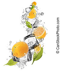 Ice lemons on white background - Ice lemons isolated on...
