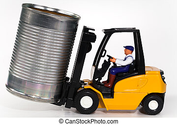 Forklift and tin can - A toy forklift truck lifting a tin...