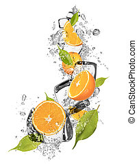 Ice oranges on white background - Ice oranges isolated on...