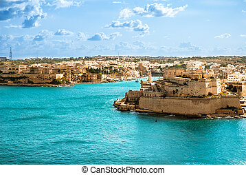 Grand Harbor, Valetta, capital of Malta - View to Vittoriosa...