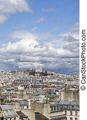 Scenic view over Paris, France, with Sacre Coeur basilica