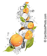 Ice apricot on white background - Ice apricot isolated on...