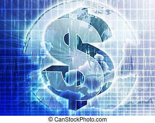 US Dollar map - US Dollar symbol over globe of americas