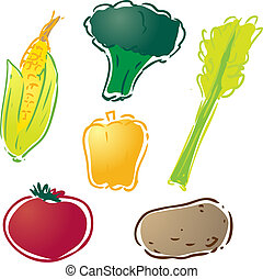 Various vegetables illustration : corn, bell pepper, celery,...