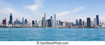 Chicago skyline - Chicago city summertime skyline by the...