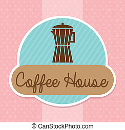 coffee house design over pink dotted background vector...