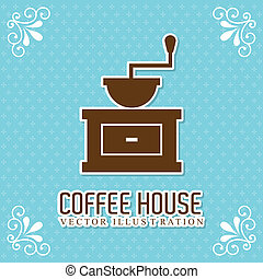 coffee house over blue dotted background vector illustration...