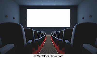 Cinema Screen - Inside of the cinema Several empty seats...