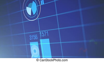 Stock Market Chart on Blue Background.