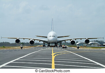 Big airliner - Very big airplane being towed at an airport