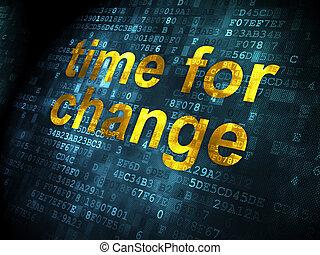 Timeline concept: Time for Change on digital background -...