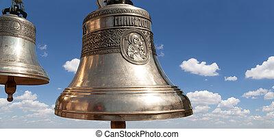 ortodoxo, campanas, Primer plano, contra, cielo, nubes,...