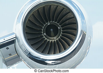 Jet engine of executive aircraft, detailed front view
