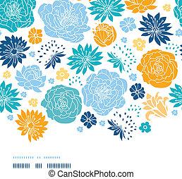 Blue and yellow flower silhouettes horizontal decor seamless...