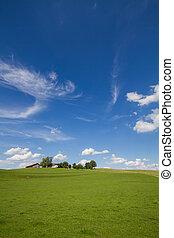 Scenic landscape in Bavaria, Germany, in spring - Scenic...