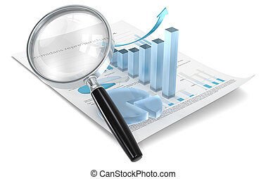 Analyze. - Magnifying glass over Financial document with 3D...