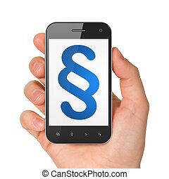 Law concept: Paragraph on smartphone - Law concept: hand...