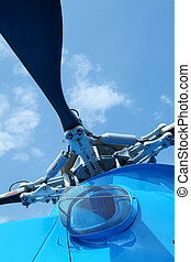 Rotor detail of helicopter - Rotor detail of large, blue...