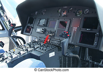 Helicopter cockpit - Cockpit instrument of helicopter with...