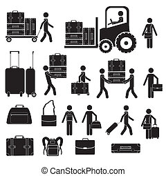 suitcases icons over white background vector illustration
