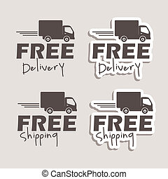 free delivery labels over gray background vector...