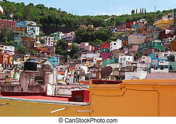 Guanajuato in Mexico- town with colorful colonial architecture