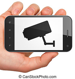 Safety concept: Cctv Camera on smartphone - Safety concept:...