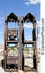 Double gold ore car mine shaft lift - gold ore car stacking...