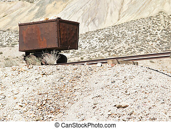 vintage gold/silver ore cart - red rusted vintage...