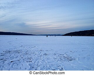 Frozen Lake - A photo of Cayuga Lakes winter horizon as I...